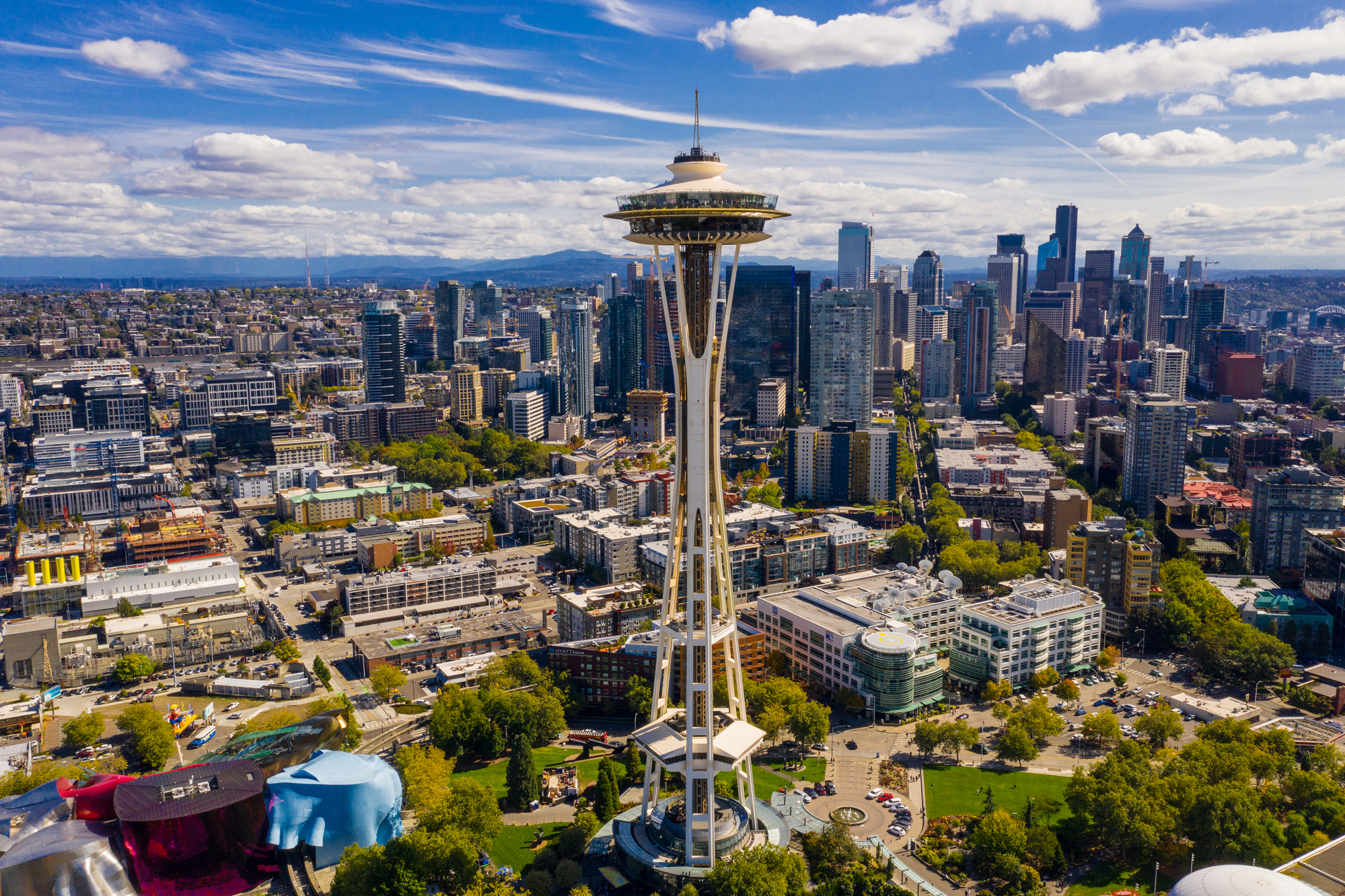 Aerial drone photography of the Seattle Space Needle