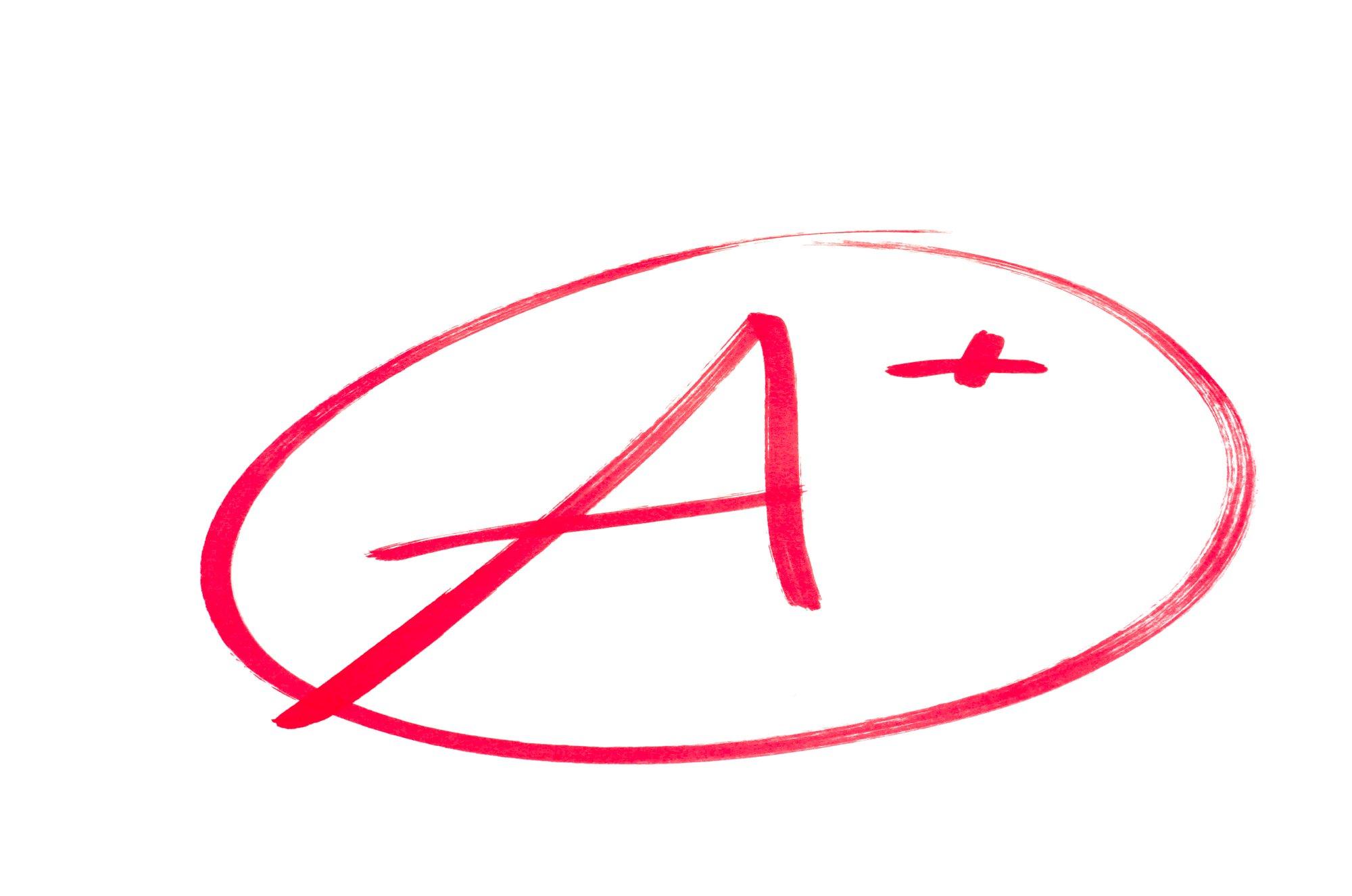 Excellent School Exam Grade A plus