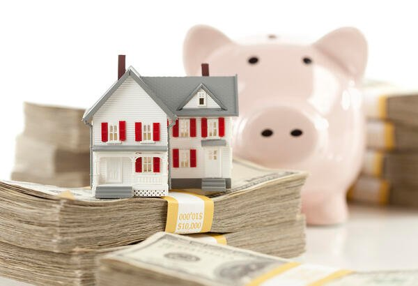 Small House and Piggy Bank with Stacks Money-1