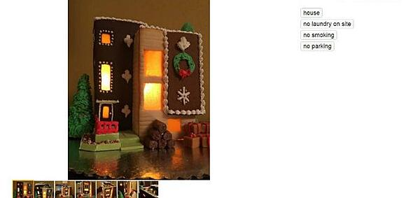 found some humor, gingerbread house